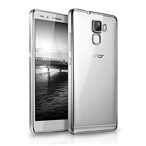 Connect Zone Clear Transparent Silicone Gel Case Cover for Huawei Honor 7 + Screen Guard and Polishing Cloth