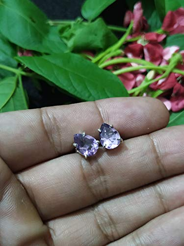 Amethyst Studs, Promise Studs Earrings, Dainty Jewelry, Hippie Studs, Prong Studs, 925 Sterling Silver, February Birthstone, Boho Studs, Studs Earrings, Post Studs, Gift For Her, Healing Crystal
