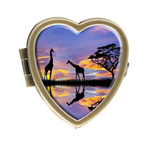 Giraffes Reflected in Africa Sunset Lake Design Bronze Pill Case Box Western Medicine Tablet Holder Decorative Bronze Pill Box for Pocket or Purse