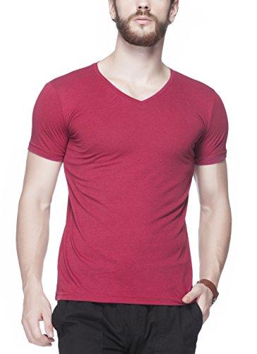 Tinted Men's Solid V-Neck Half Sleeve T-Shirt (Medium, Maroon)