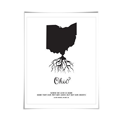 Ohio Art Print. 5 Sizes/60 Colours. State Map Poster. Ohio Map. Custom State Art (Photo State Ohio Poster)