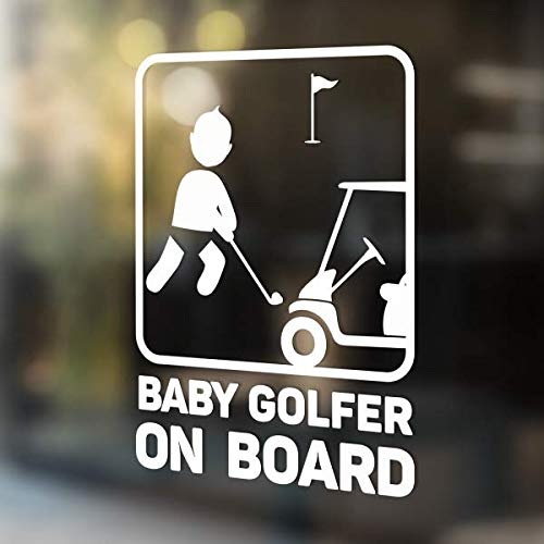 (Babycalla Baby on Board Signs for Car Windows Sticker White Vinyl Boy and Girl)