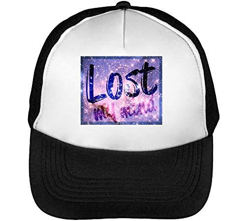 Lost My Mind Cosmic Slogan Gorras Hombre Snapback Beisbol Negro Blanco