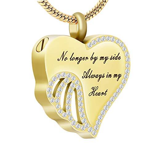 Crystal Heart Keepsake - UPSTONE Always in My Heart Cremation Jewelry - No Longer by My Side Always in My Heart Crystal Urn Pendant Memorial Keepsake for Women/Pet