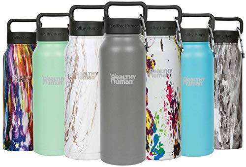 - Healthy Human Insulated Stainless Steel Water Bottle Stein - Cold 24 Hours/Hot 12 Hours - Double Walled Vacuum Flask with Hydro Guide & Carabiner - 21 oz Slate Gray