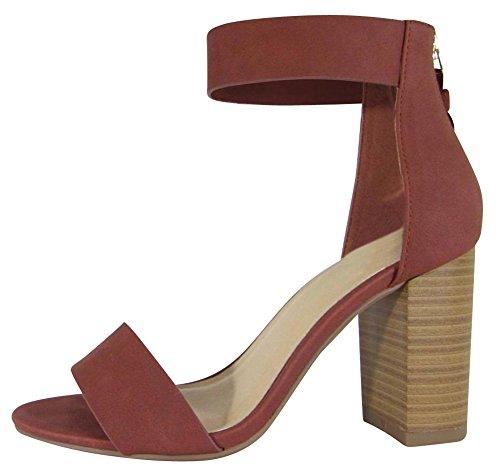 Cambridge Select Women's Open Toe Single Band Thick Ankle Strap Back Zip Tassel Chunky Stacked Block Heel Sandal,10 B(M) US,Dark Rust Nbpu