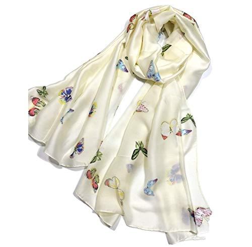 Shanlin Silk Feel Long Satin Butterfly Scarves for Women (Butterflies-Creamy) ()