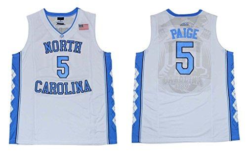 Crisgiord 2016 Mens North Carolina Tar Heels Basketball Jersey No 5 Marcus Paige White Xl