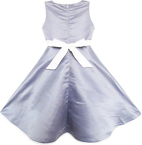 Les Filles Ensoleillées De La Mode Robe Pageant Fille Fleur De Mariage Élégant Gris Enfants Vêtements Gris