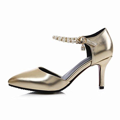 MissSaSa Damen high-heel Knöchelriemchen Pointed Toe Schnalle Pumps mit Strass und künstlich Perlen Gold