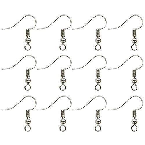 Kurtzy 500 Pack Silver Plated Earring Hook Earrings by Nickel Free - Jewellery Making Findings - Earrings for Men, Women and Children - 2mm Open Threading Hoop