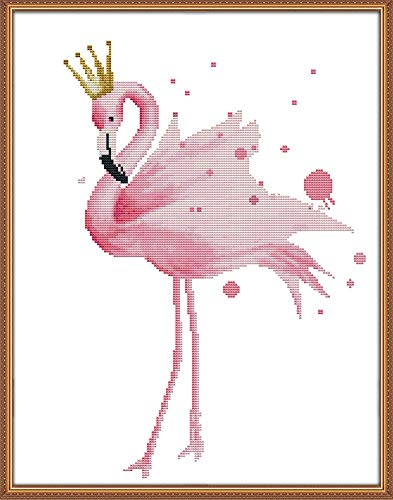 YEESAM ART New Cross Stitch Kits Advanced Patterns for Beginners Kids Adults - Pink Flamingo Queen - DIY Needlework Wedding Christmas Gifts (Flamingo Queen, White) ()