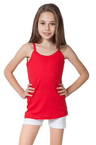 CAOMP Girls Camisole%100 Organic Cotton Undershirt Tank Tee Top (Pack of 2) (13/14, Red-White) -