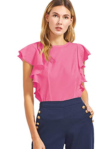 MAKEMECHIC Women's Solid Ruffle Sleeve Summer Tops and Blouses Hot Pink M