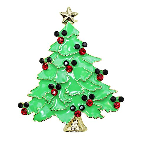 Crystal Mickey Mouse Rhinestone - Faship Mickey Mouse Christmas Tree Pin Brooch Red black Rhinestone crystal