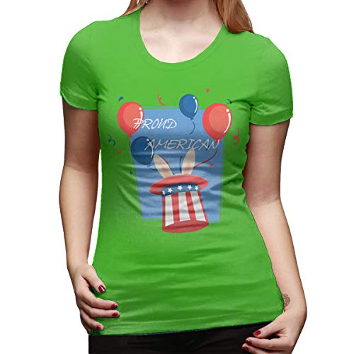Jack Wesley Proud American Pride Red White Blue Bunny Women's Short Sleeve T Shirt Color Green Size 31