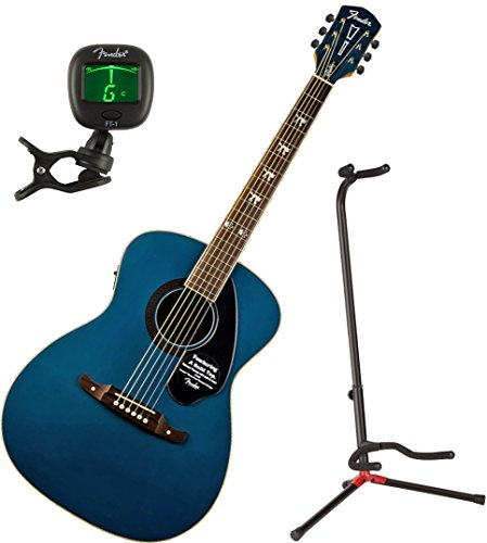 Fender 0971752027 Tim Armstrong Hellcat Sapphire Acoustic Guitar w/ Stand and Tuner (Armstrong Acoustic Tim)