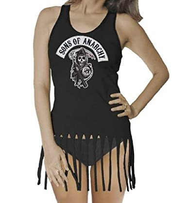 Sons of Anarchy Reaper Fringe Juniors Black Tank