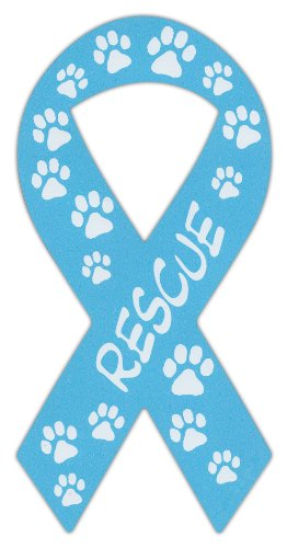 (Ribbon Shaped Magnets: Rescue (Dogs, Cats) Blue Design | Cars, Trucks, Support)