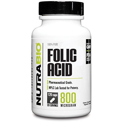 NutraBio Folic Acid (800 mcg) - 120 Vegetable Capsules - Buy