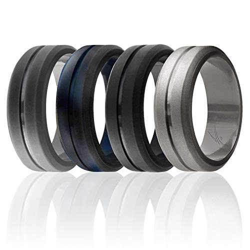 ROQ Silicone Wedding Ring for Men, Set of 4 Elegant, Affordable Silicone Rubber Wedding Bands, Brushed Top Beveled Edges -Black, Grey, Black-Blue Camo, Beveled Metalic Platinum - Size 12 (Men S Wedding Rings)
