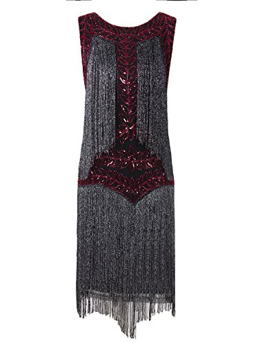 Vijiv Women's Flapper Dresses 1920s Gatsby Full Fringed Vintage Cocktail Dress (Homemade Costumes For Plus Size Women)