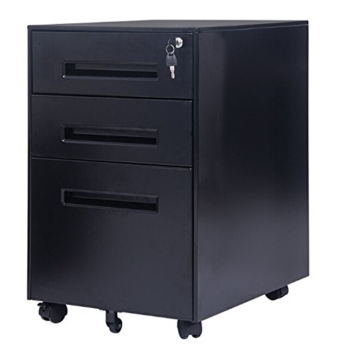 Merax Classic Metal Mobile File Cabinet, Fully Assembled Except for 5 Casters, Black