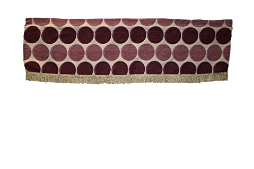 Violet Linen Deluxe Chenille Jacquard Circle's Design Window Valance, 60