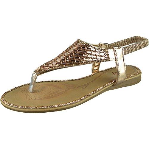 con de 3 Sandalias mujer Champange Diamante Flats Zapatos Bar elástica talla T para 8 verano Zapatos punta gqBvxn4