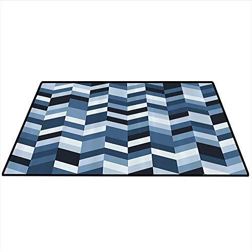 Navy Area Rug Carpet Soft Pastel Toned Modern Herringbone Pattern with Zigzag Twisty Stripes Image Art Door mat 4'x6' (W120cmxL180cm) Dark and Slate Blue