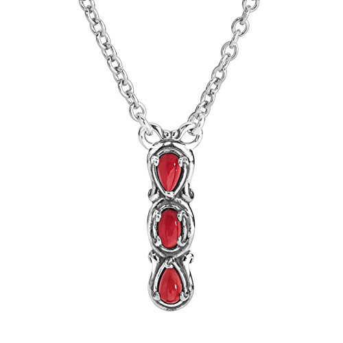Carolyn Pollack Sterling Silver Red Coral Gemstone 3 Stone Vertical Bar Necklace 16 to 18 Inch ()