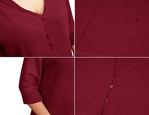 Tunique Rouge Longue Mode Chemise Soie v Femme Fluide Slim Blouse Col Mousseline Haut de Manches Button xxwEZFOqv