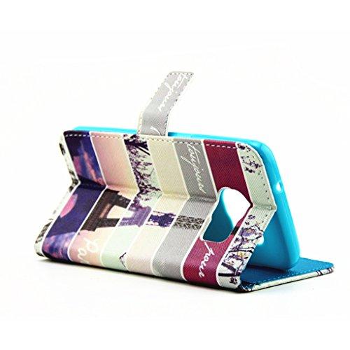 Trumpshop Smartphone Carcasa Funda protección para Samsung Galaxy S7 edge + Lindo gato + PU Cuero Caja Protector con Cierre Magnético la Ranura la Tarjeta Choque Absorción Torre Eiffel