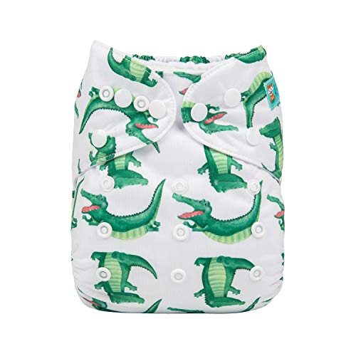 ALVABABY Baby Diapers Reuseable Washable Pocket Cloth Diaper Nappy + 2 Inserts (YX28, Happy Crocodile)