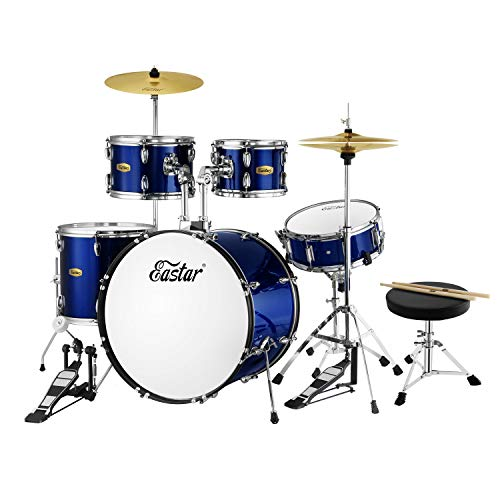 Eastar 22 inch 5 Piece Drum Set Kit Full Fize Adult Teen with Cymbals Stands Stool and Sticks, Metallic Blue