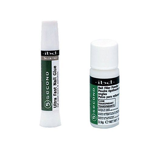 Bundle of Two Items: IBD 5 Second Nail Filler Powder .14 oz & IBD 5 Second Ultra Fast Nail Glue 2 gm