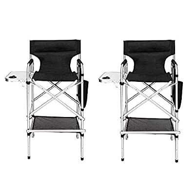 "Mefeir 31"" Tall Director Makeup Artist Chair Bar Height, Aluminum Frame Supports 300 lbs, Folding Portable with Side Table Storage Bag Black,33.8"" L x 19.2"" W x 45.6"" H"