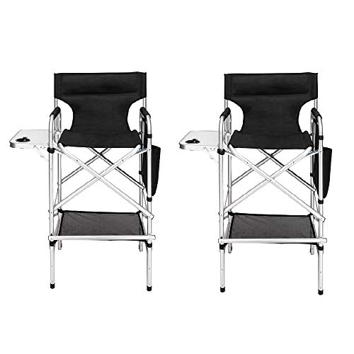 Mefeir 2PCS Upgraded Director Makeup Artist Chair Bar Height, Aluminum Frame Supports 300 lbs, Folding Portable with Side Table Storage Bag Black (Bar Nj Furniture)