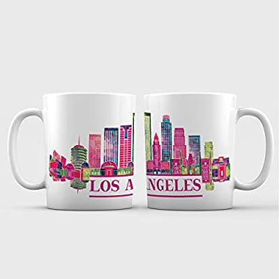 Los Angeles, CA Iconic Skyline City View Ceramic Coffee Mug - 11 oz. - Avanos 'Artsy Cities' Series Souvenir Gifts
