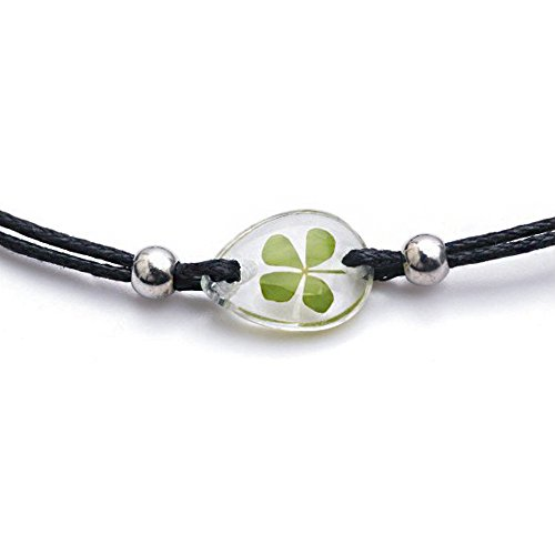 4 Leaf Clover Bracelet (Stainless Steel and Black Wax Real Irish Four (4) Leaf Clover Shamrock Bracelet)