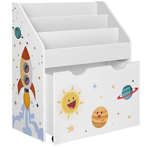 SONGMICS Speelgoedplank, boekenplank voor kinderen, kinderkamerplank met 3 vakken en uittrekbare speelgoeddoos met…