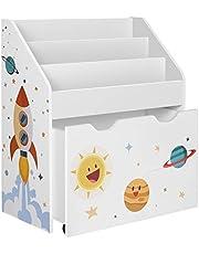 SONGMICS Speelgoedplank, boekenplank voor kinderen, kinderkamerplank met 3 vakken en uittrekbare speelgoeddoos met wielen, speelgoed organizer, kinderkamer, voor boeken, speelgoed, witte GKR41WT