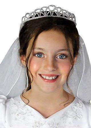 iGirlDress Girls First Communion Rhinestone Crown Veils