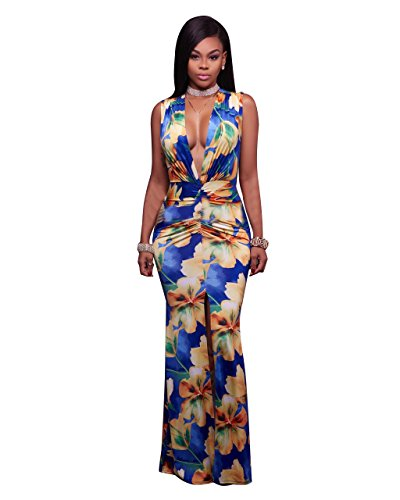 Sexycherry Women Deep V-Neck Elegant Sexy Flower Floral Cocktail Maxi Party Dress (Medium, Blue Floral1)