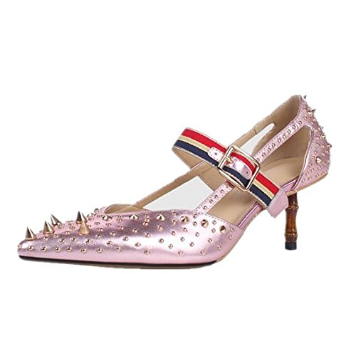 Genuino Zapatos Remache Sandalias De Tacón Yeey Cuero Para Alto 80wmnN