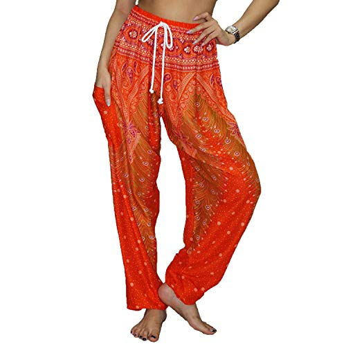 Lofbaz Women's Drawstring Harem Boho Gypsy Pants - Peacock Orange and Red XL