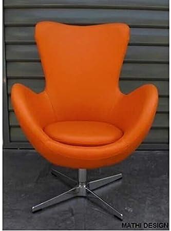 MATHI DESIGN Poltrona Cocoon Finta Pelle Colori Arancione