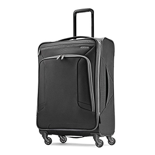 American Tourister 4 Kix Expandable Softside Luggage with Spinner Wheels, Black/Grey, Checked-Medium 25-Inch