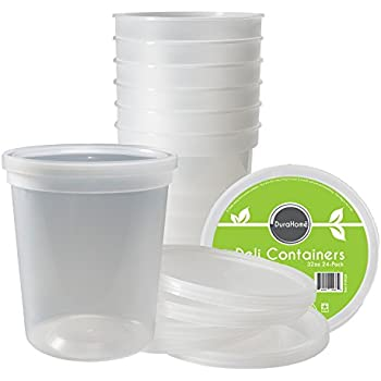 DuraHome - Deli Food Storage Containers With Lids 32 Ounce, Pack of 24, Made in USA, Plastic Microwaveable Containers