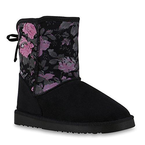 Warm Gefütterte Boots Schlupfstiefel Strass Blumen Schleifen Pailletten Schuhe Kunstfell Stiefel Nieten Booties Winterstiefel Flandell Schwarz Blumen